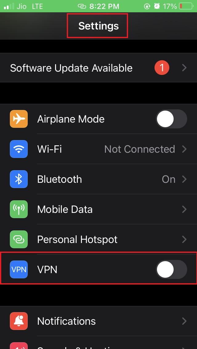 disable VPN on iOS