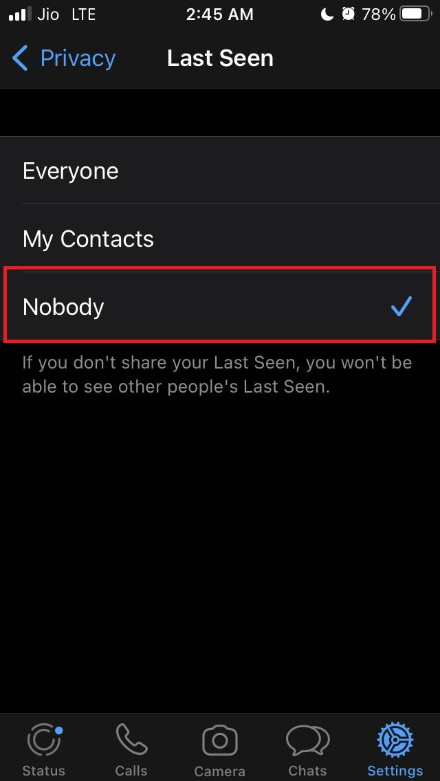 disable last seen WhatsApp
