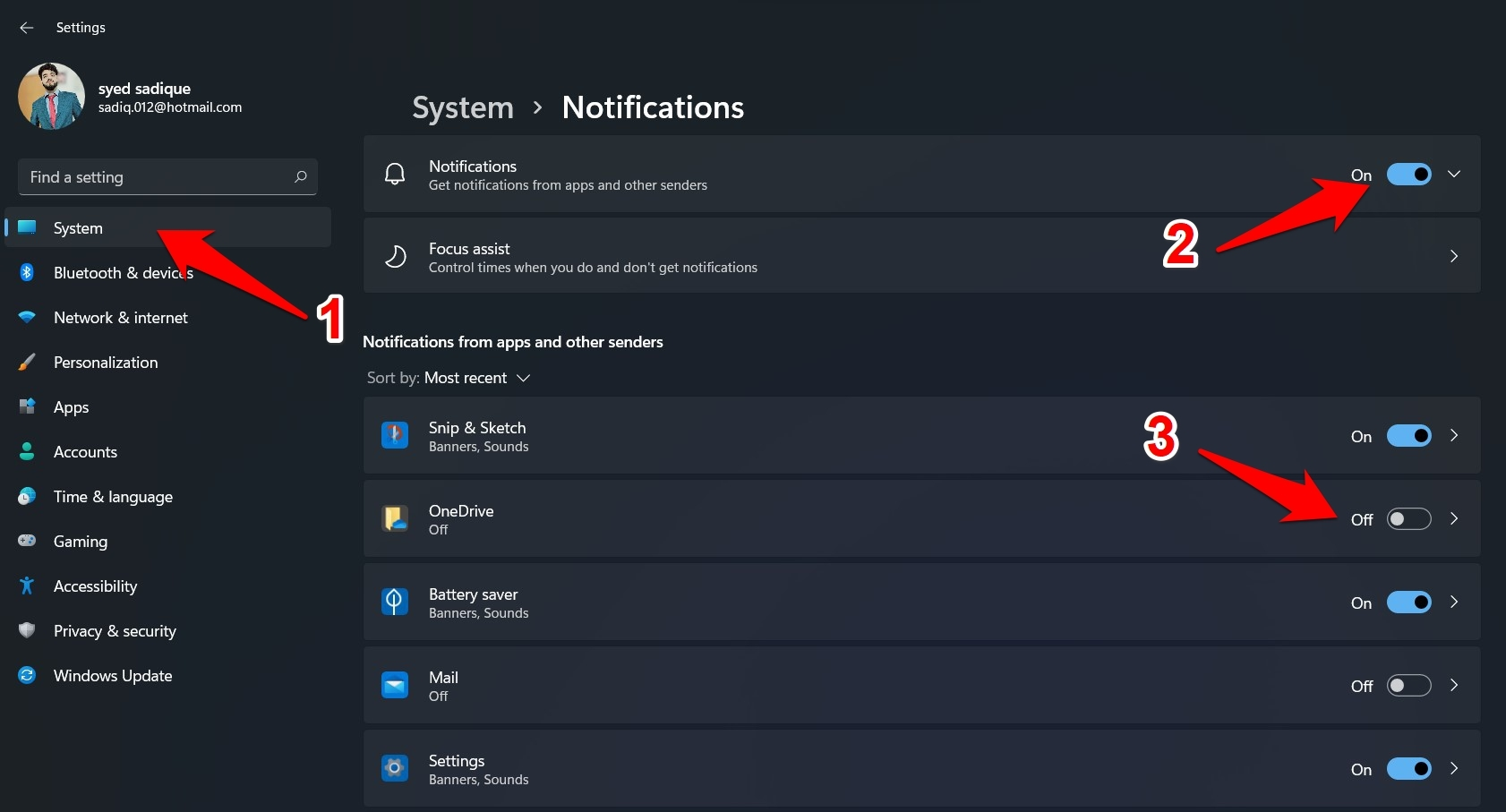 disable app notifications in windows 11