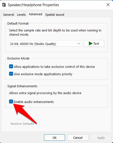 disable audio enhancement windows 11