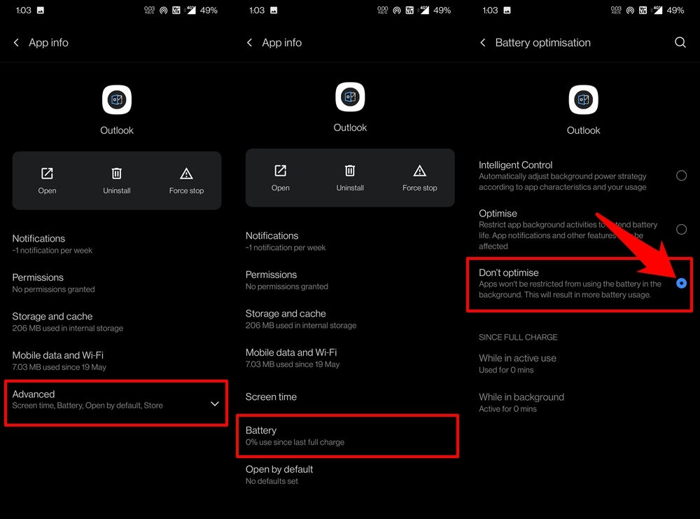 disable battery optimization for outlook app on android