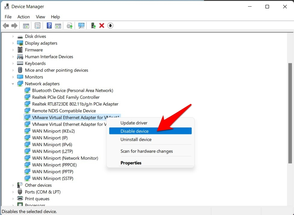 disable ethernet in Windows 11 via device manager
