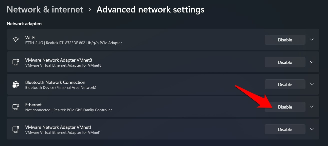 disable ethernet via Windows 11 settings