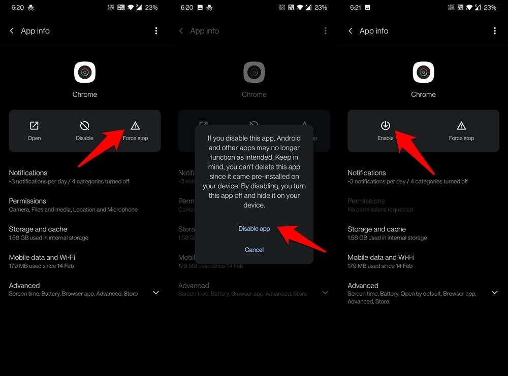 disable google chrome app on android