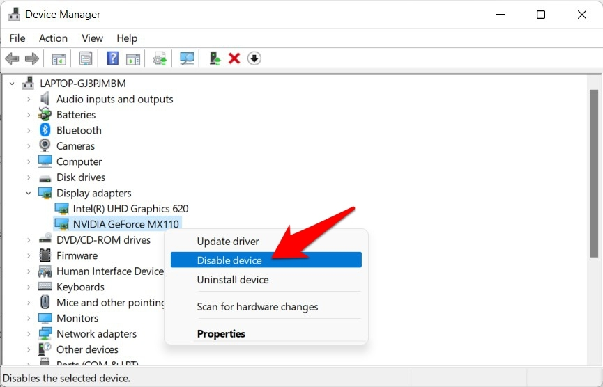 disable graphics card drivers windows 11
