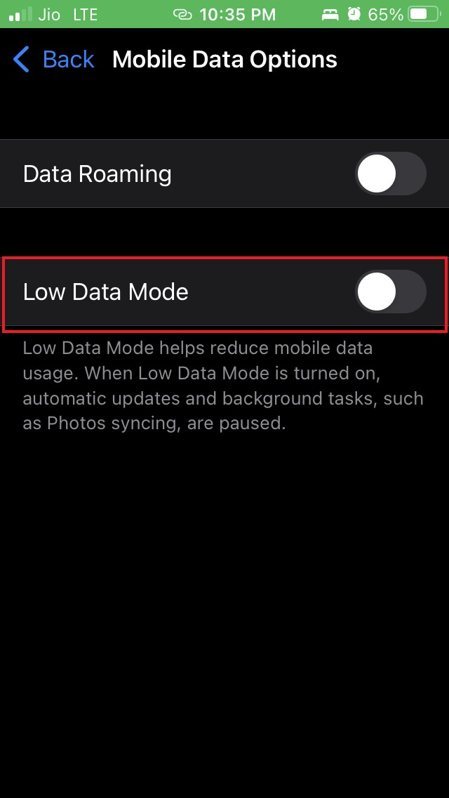 disable low data mode iOS