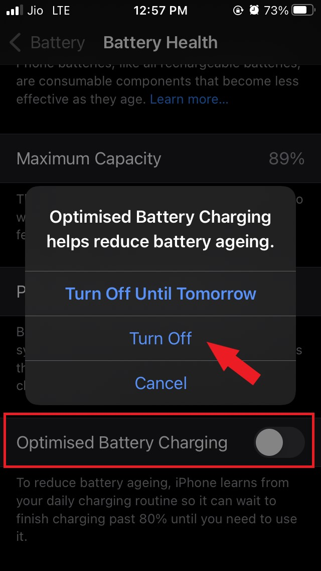 disable optimized battery charging on iOS