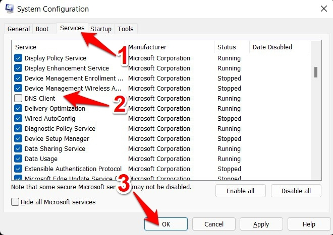 disable service via system configuration in windows 11