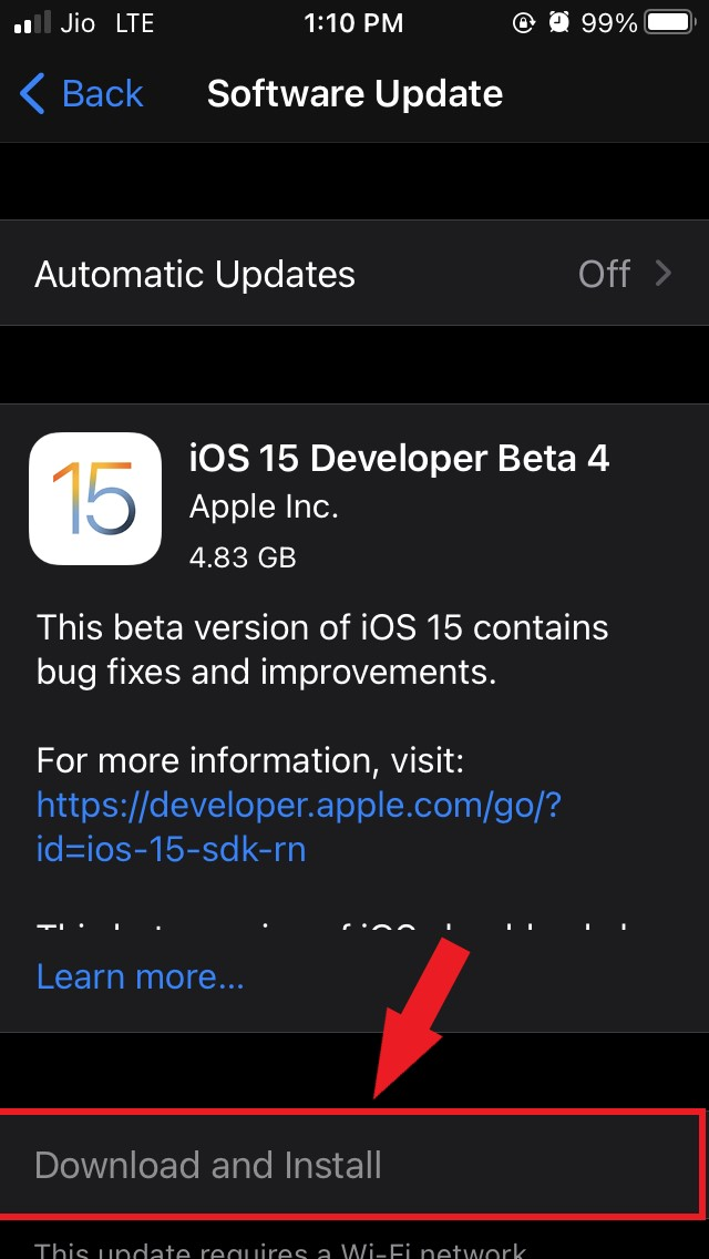 download and install iOS 15