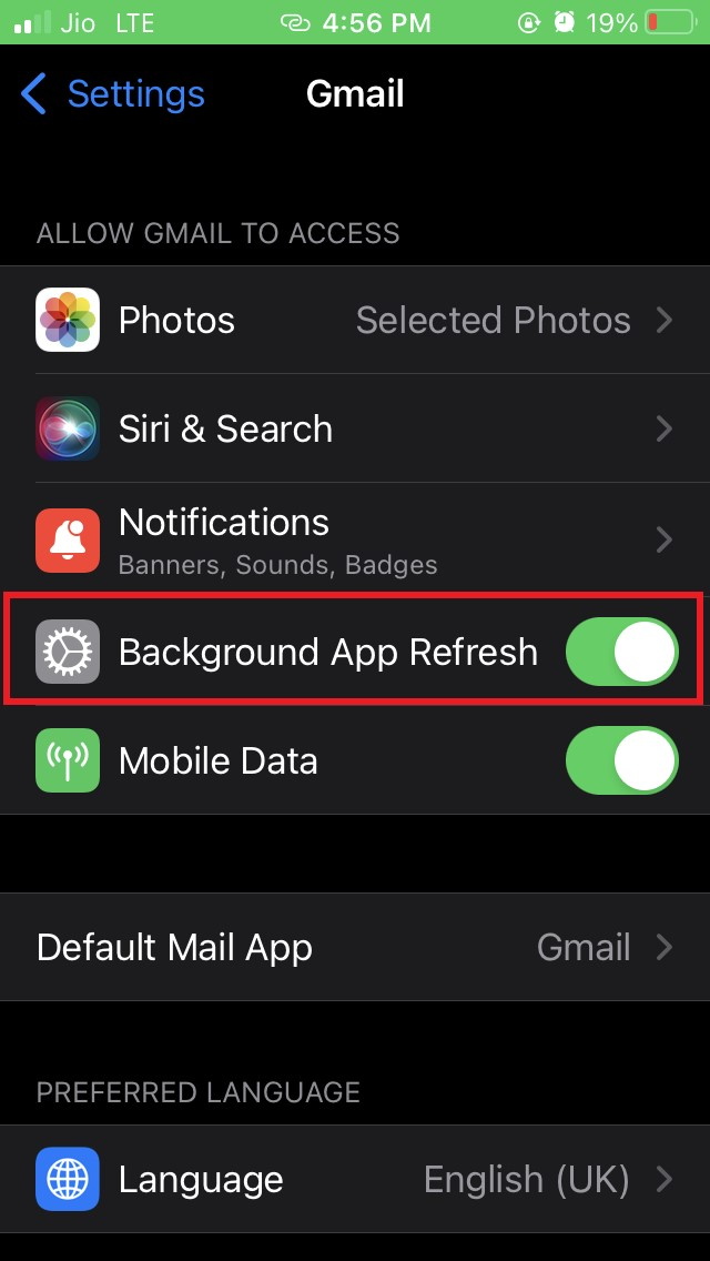 enable background app refresh