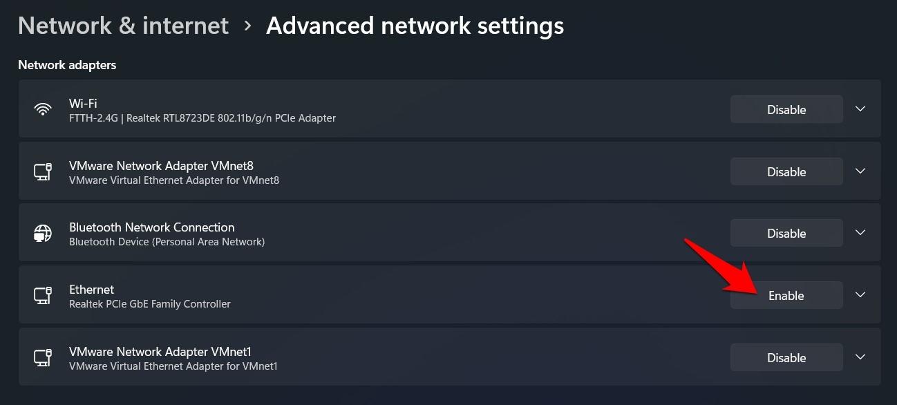 enable ethernet via Windows 11 settings