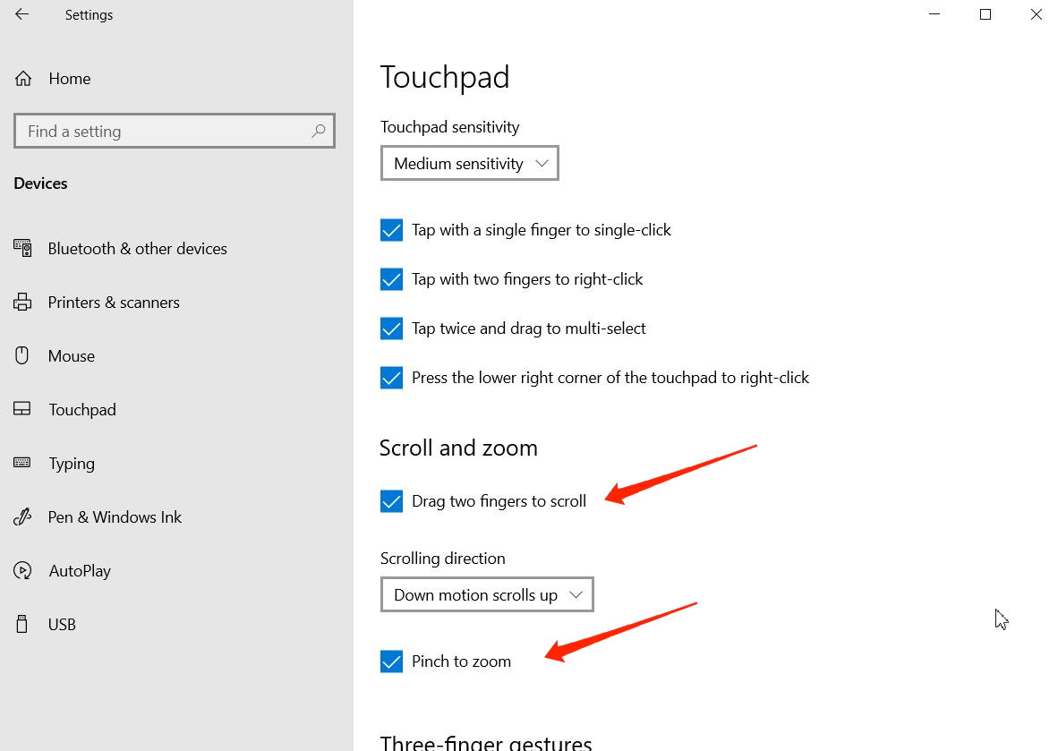 enable touchpad gestures windows 11