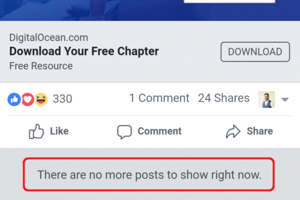 Facebook there are no more post to show right now