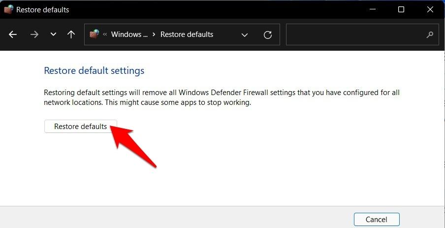 firewall restore default settings in windows 11
