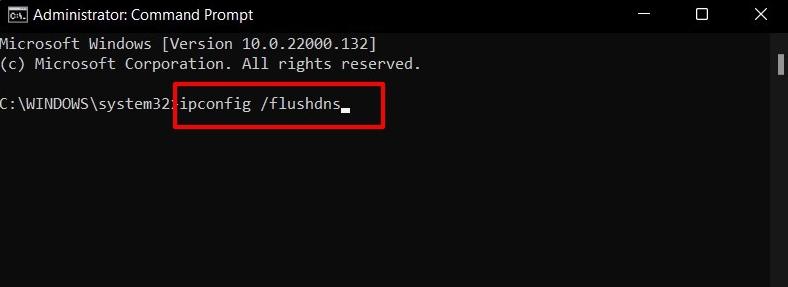 flush dns cache in windows 11 via command prompt