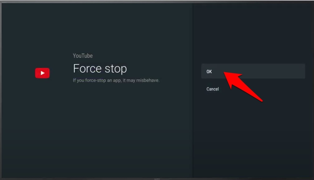 force stop youtube confirmation android tv