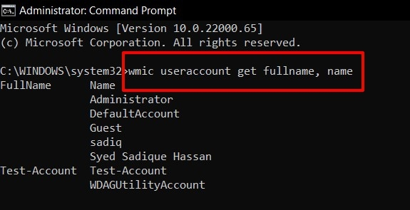 get user account list in windows 11 via command prompt