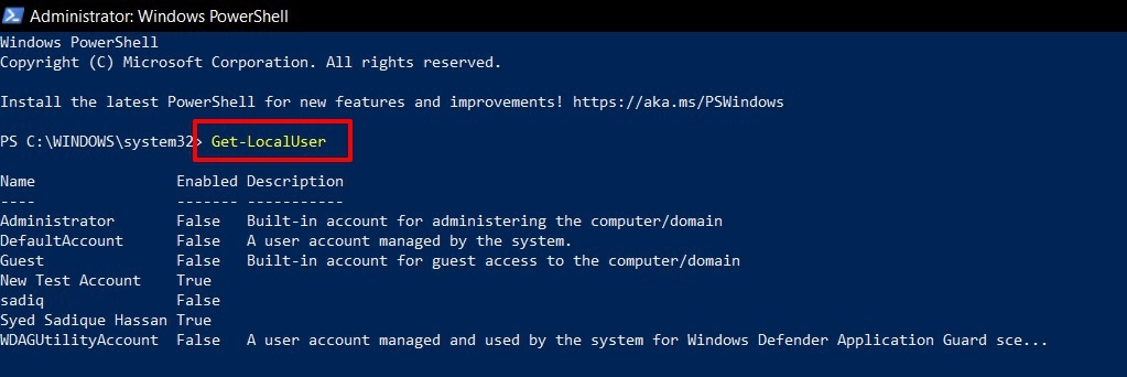 get user account list in windows 11 via powershell
