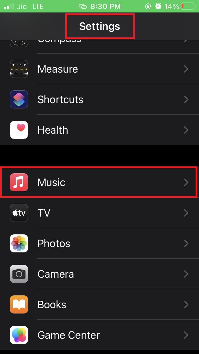 go to Apple Music iOS settings