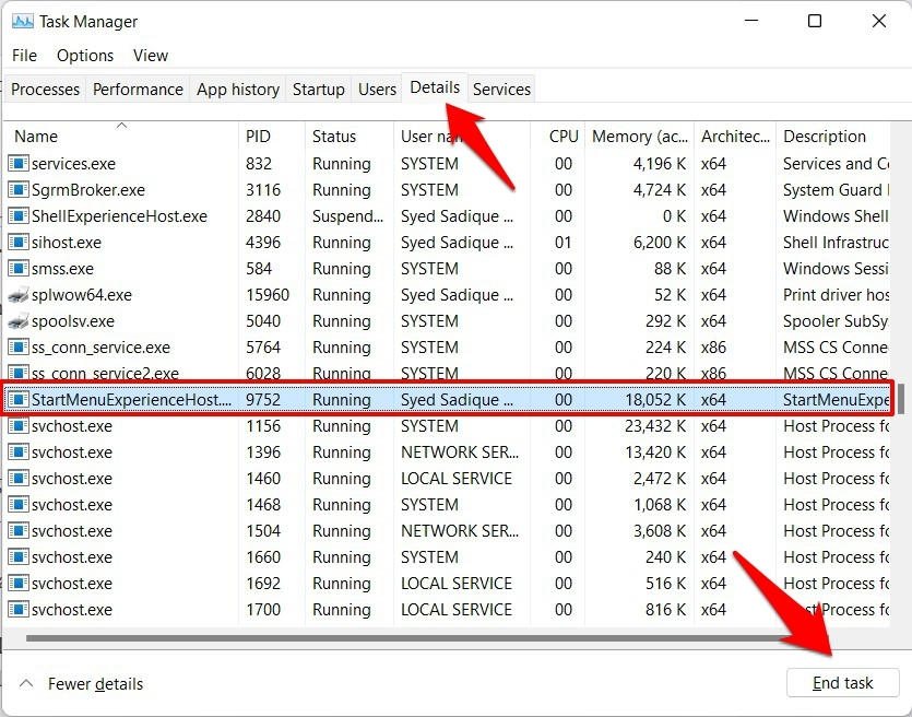 how to end task of start menu process