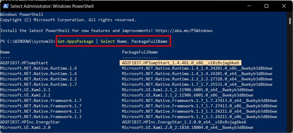 how to find app package name in windows 11