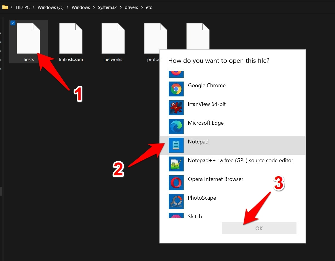 how to open hosts file in windows 11
