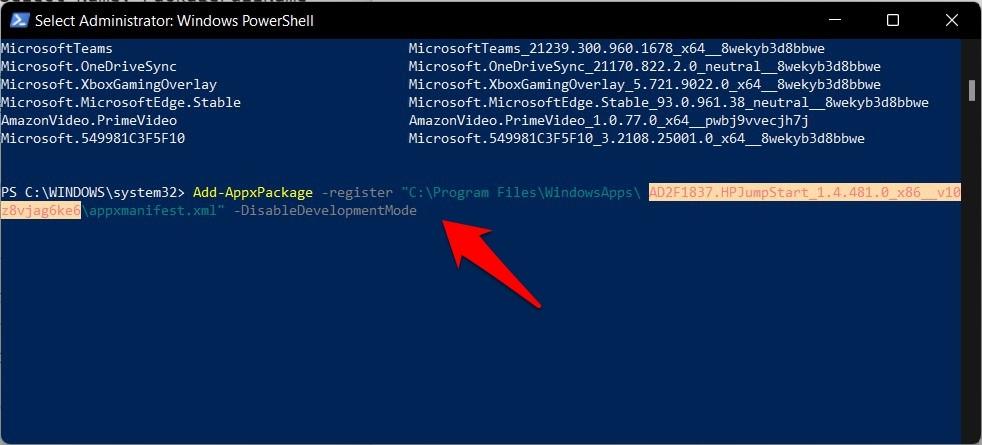 how to reinstall app via powershell in windows 11