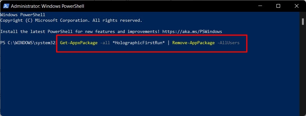 how to remove windows HolographicFirstRun