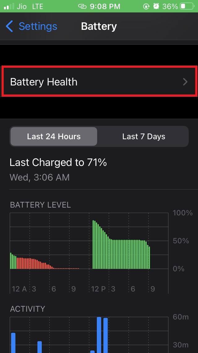 iOS battery health