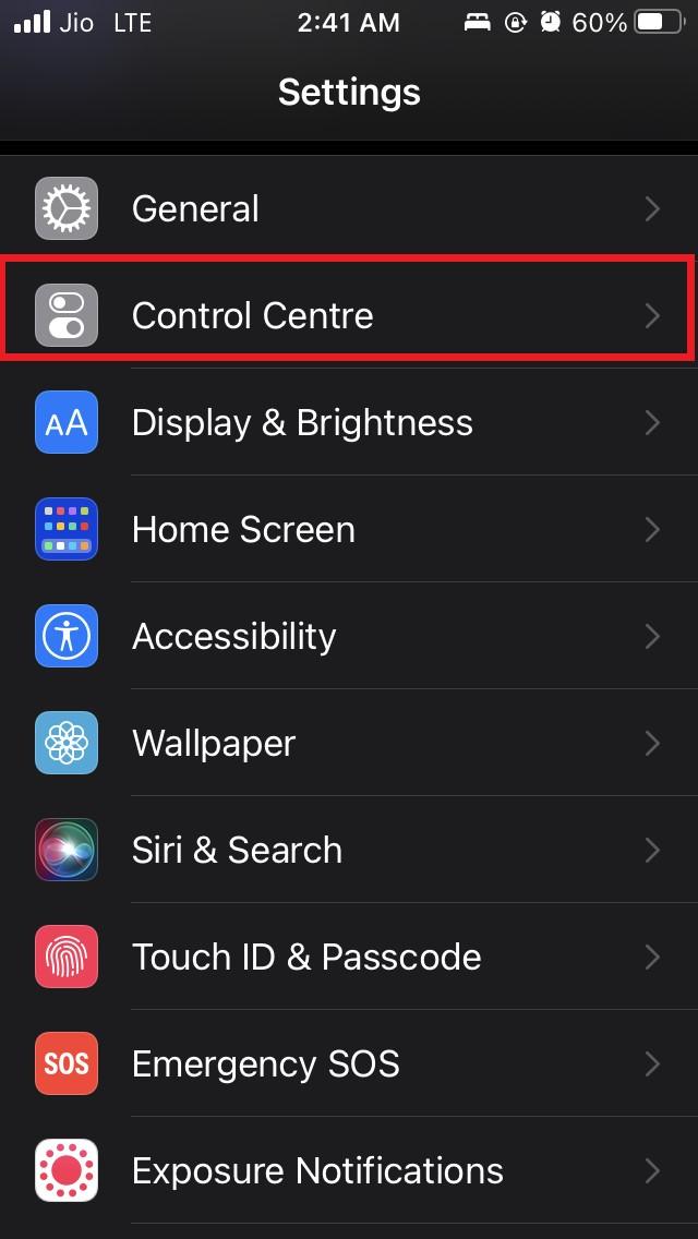 iOS control center settings