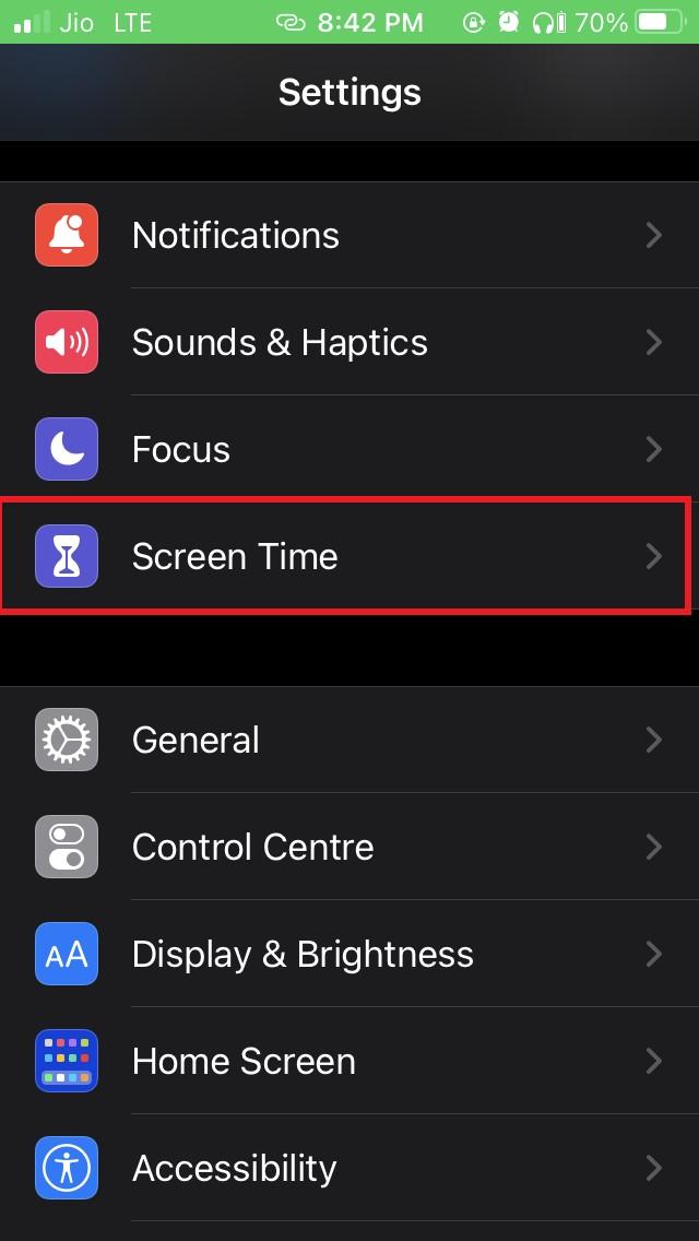 iOS screentime