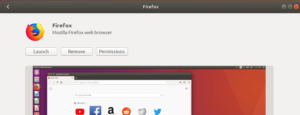 launch, remove, and permission button.
