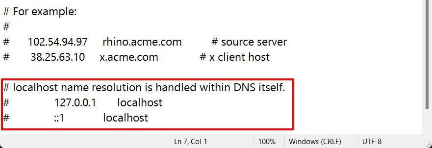 localhost address in hosts file in windows 11