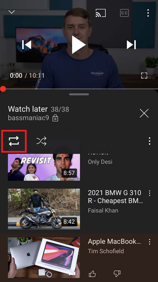 loop YouTube videos in Watch Later playlist
