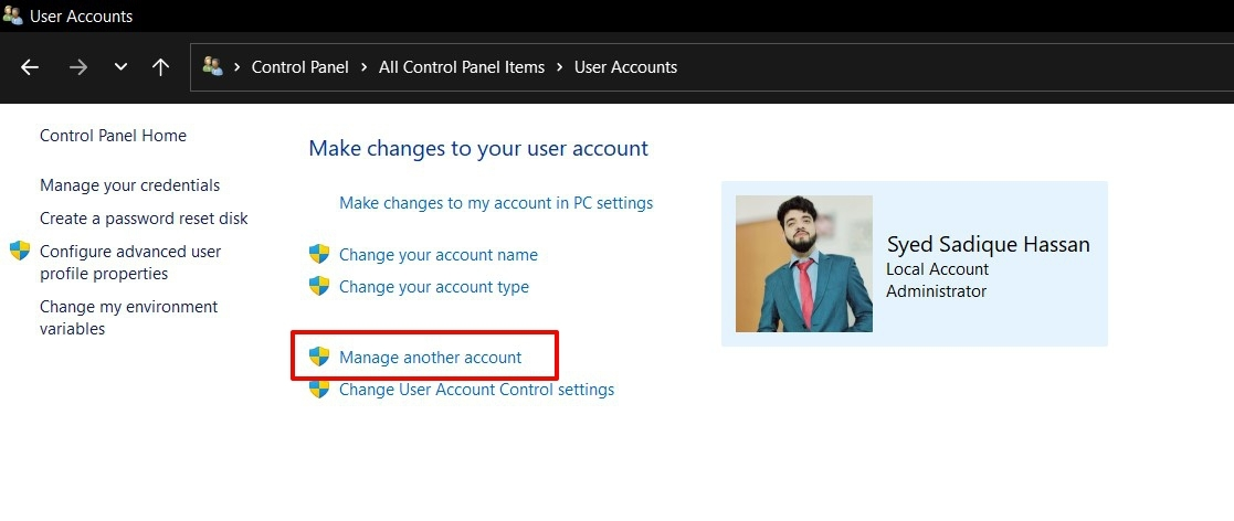 manage another account windows 11
