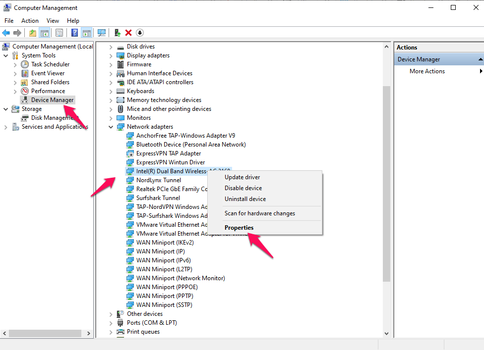 navigate to the Network Adapters drop-down menu, and right-click on the Driver. And click on the 'Properties' option