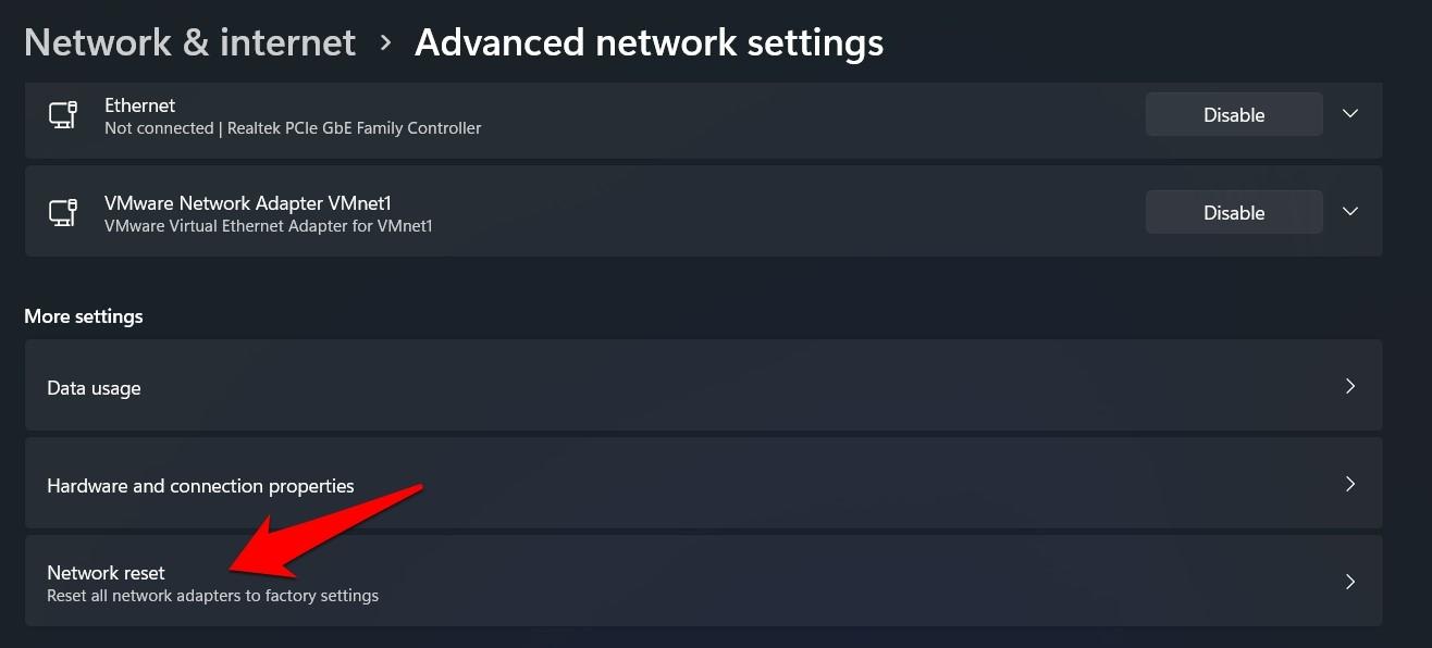 network reset option windows 11