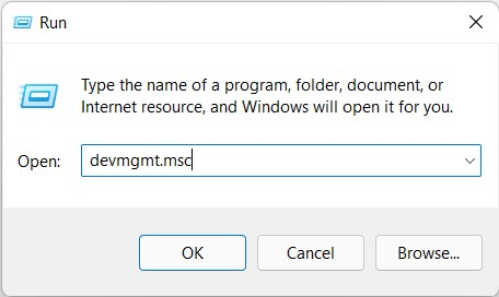 open device manager from run