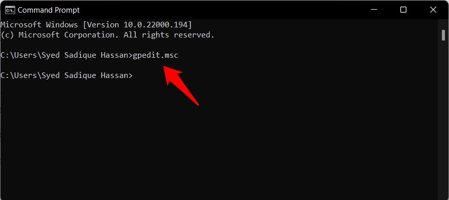 open group policy editor in windows 11 via command prompt