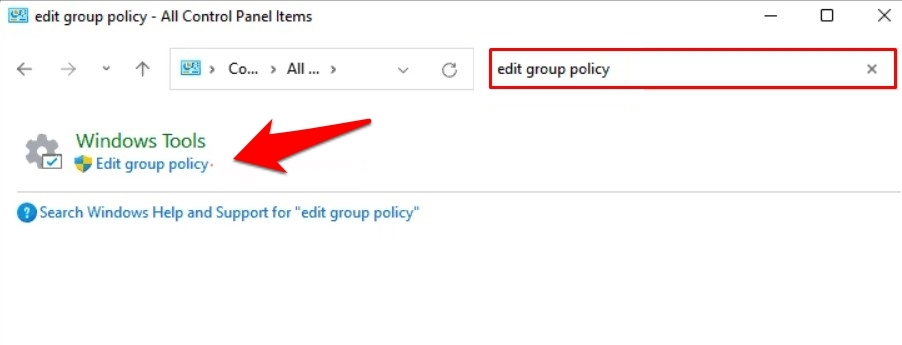 open group policy editor in windows 11 via control panel