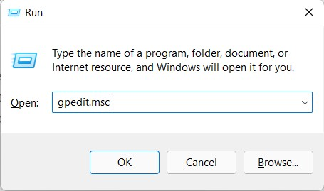 open group policy editor in windows 11 via run