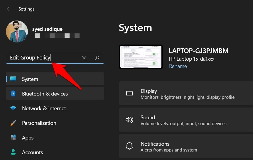 open group policy editor in windows 11 via settings