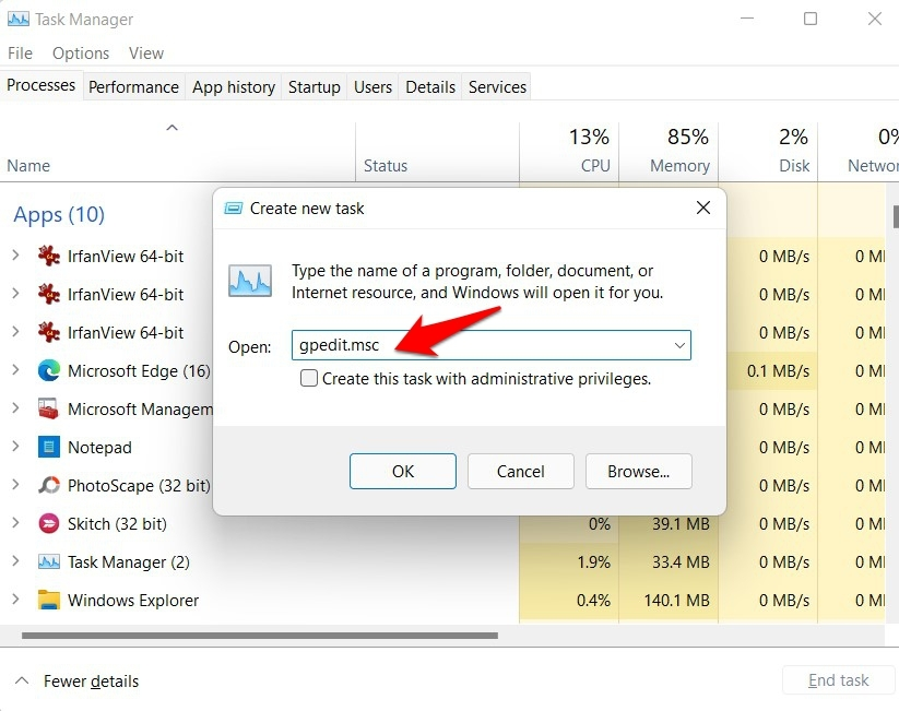 open group policy editor in windows 11 via task manager