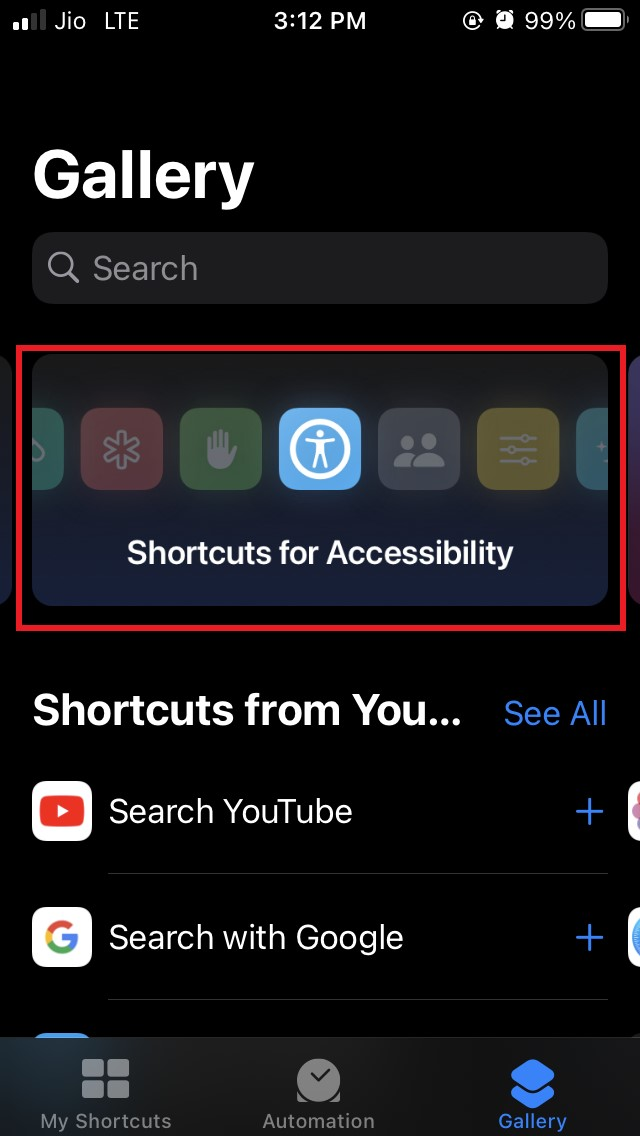open shortcuts for accessibility