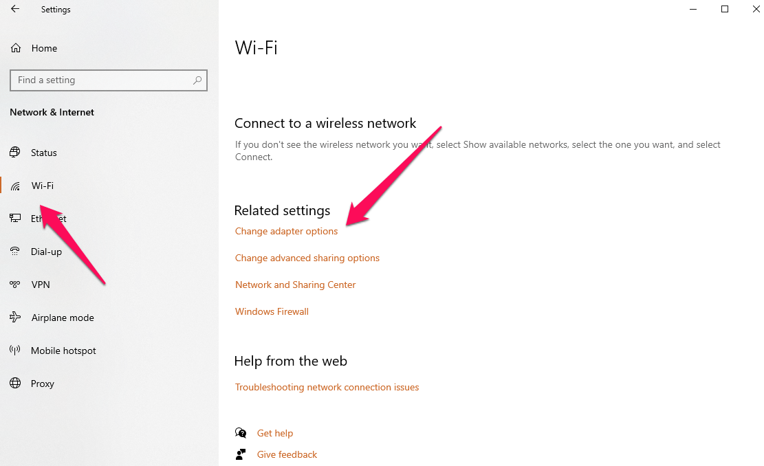opening the Network Setting, go to WiFi and then click 'Change adapter options'