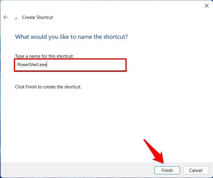 powershell admin shortcut name