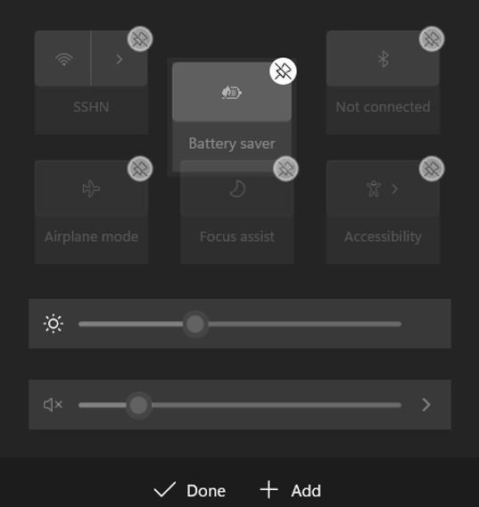 re-arrange windows 11 quick settings in action center