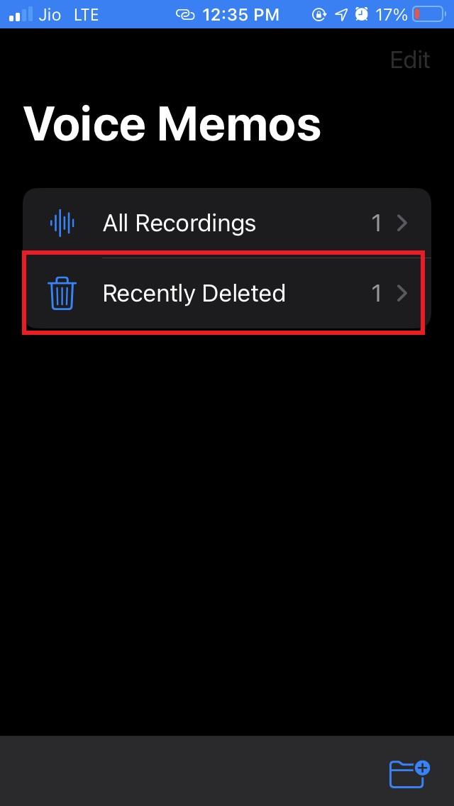 recently deleted folder voice memos