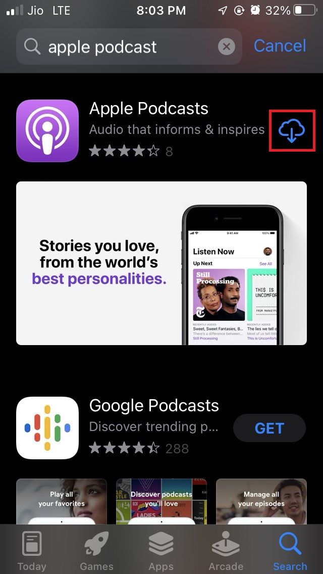 reinstall Apple Podcasts app