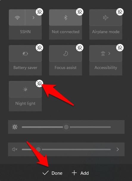 remove quick setting windows 11 action center